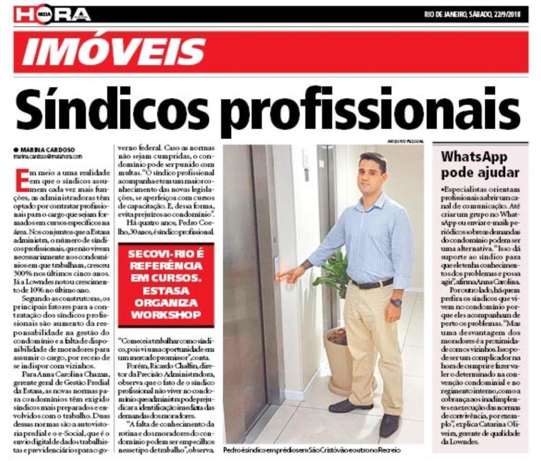 Foto da capa do caderno de Imóveis do Jornal Extra contendo a pauta da Estasa - Síndicos profissionais se popularizam nos condomínios