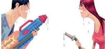 Ilustração de disputa entre condôminos para a pauta Hidrômetro individual - ter ou não ter