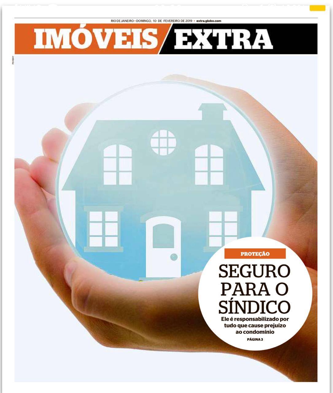 """Arte do Jornal Extra com uma mão segurando um prédio (representando segurança) para a pauta """"Seguro de Responsabilidade do Síndico"""" para o Blog da Estasa."""