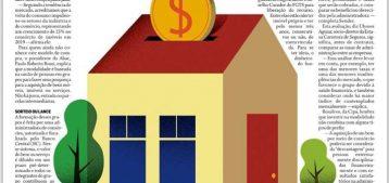 """Ilustração de uma casa com moeda simulando um consórcio para a pauta """"O consórcio resiste: imóvel em um lance"""" para o blog da Estasa."""