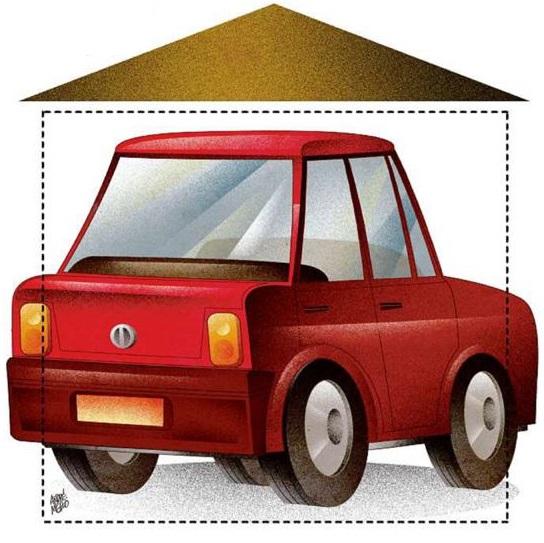 """Arte de um carro dentro de uma vaga de garagem pequena para a pauta """"Vagas de Garagem: Problemas para o condomínio!"""" para o Blog da Estasa"""